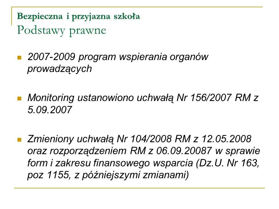 Bezpieczna i przyjazna szkoła Bezpieczna i przyjazna szkoła Podstawy prawne 2007-2009 program wspierania organów prowadzących Monitoring ustanowiono u