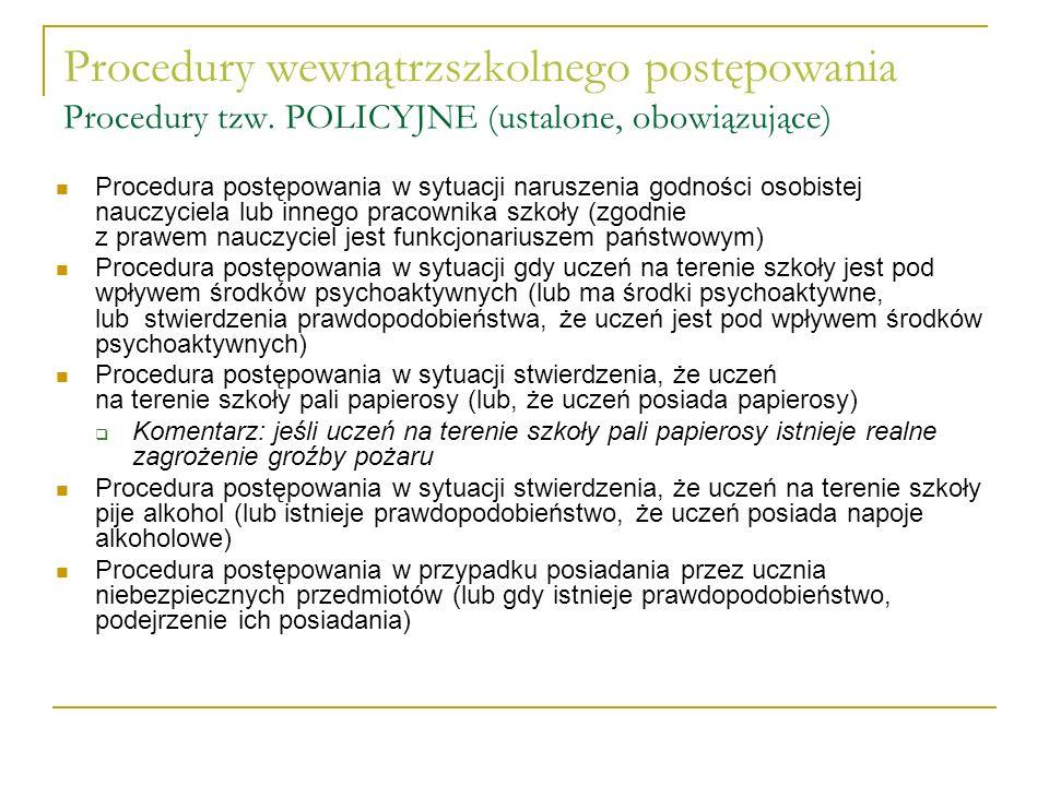 Procedury wewnątrzszkolnego postępowania Procedury tzw. POLICYJNE (ustalone, obowiązujące) Procedura postępowania w sytuacji naruszenia godności osobi