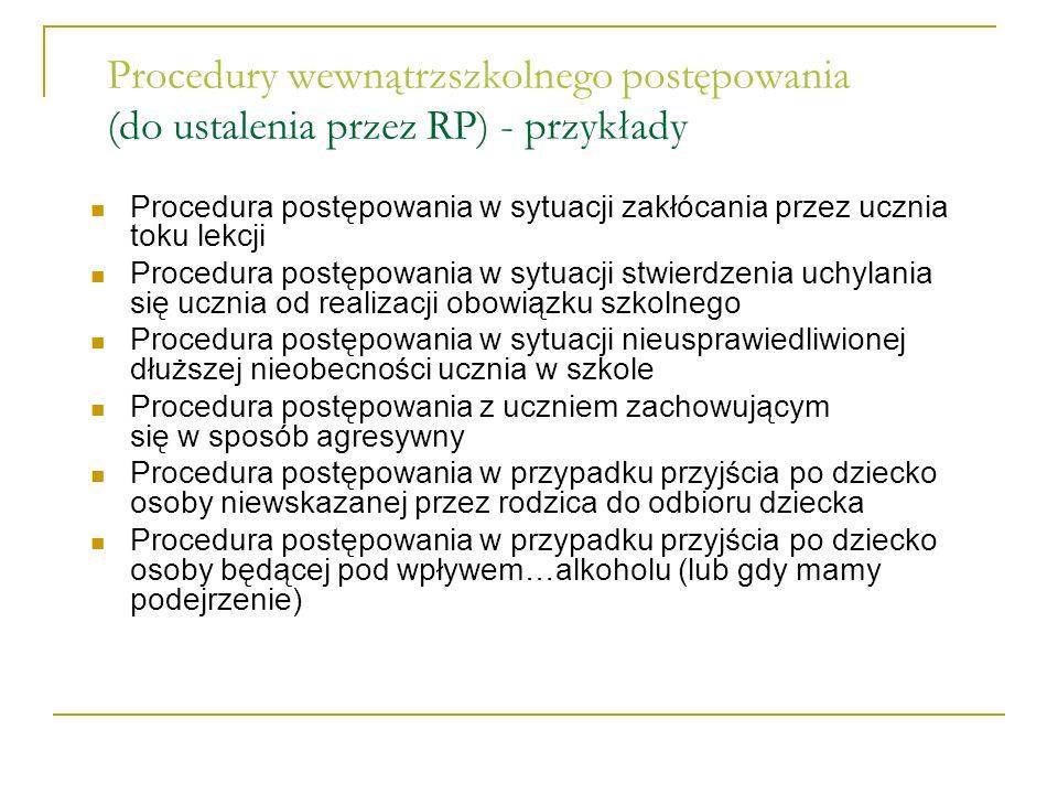 Procedury wewnątrzszkolnego postępowania (do ustalenia przez RP) - przykłady Procedura postępowania w sytuacji zakłócania przez ucznia toku lekcji Pro