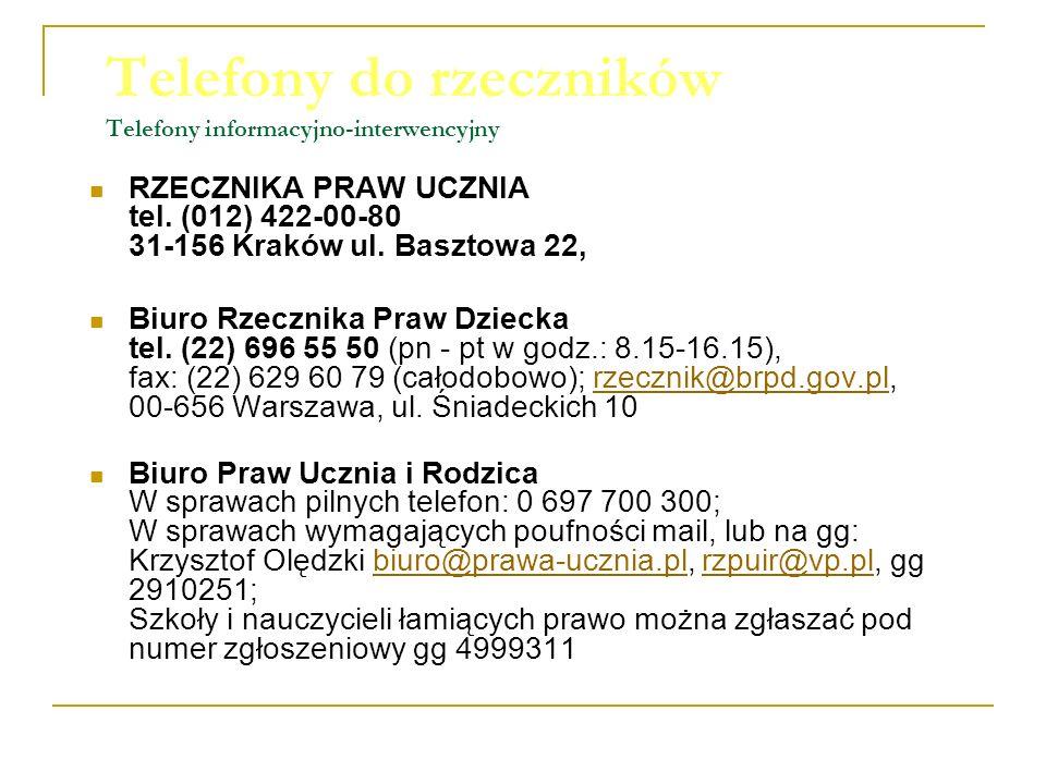 Telefony do rzeczników Telefony informacyjno-interwencyjny RZECZNIKA PRAW UCZNIA tel. (012) 422-00-80 31-156 Kraków ul. Basztowa 22, Biuro Rzecznika P
