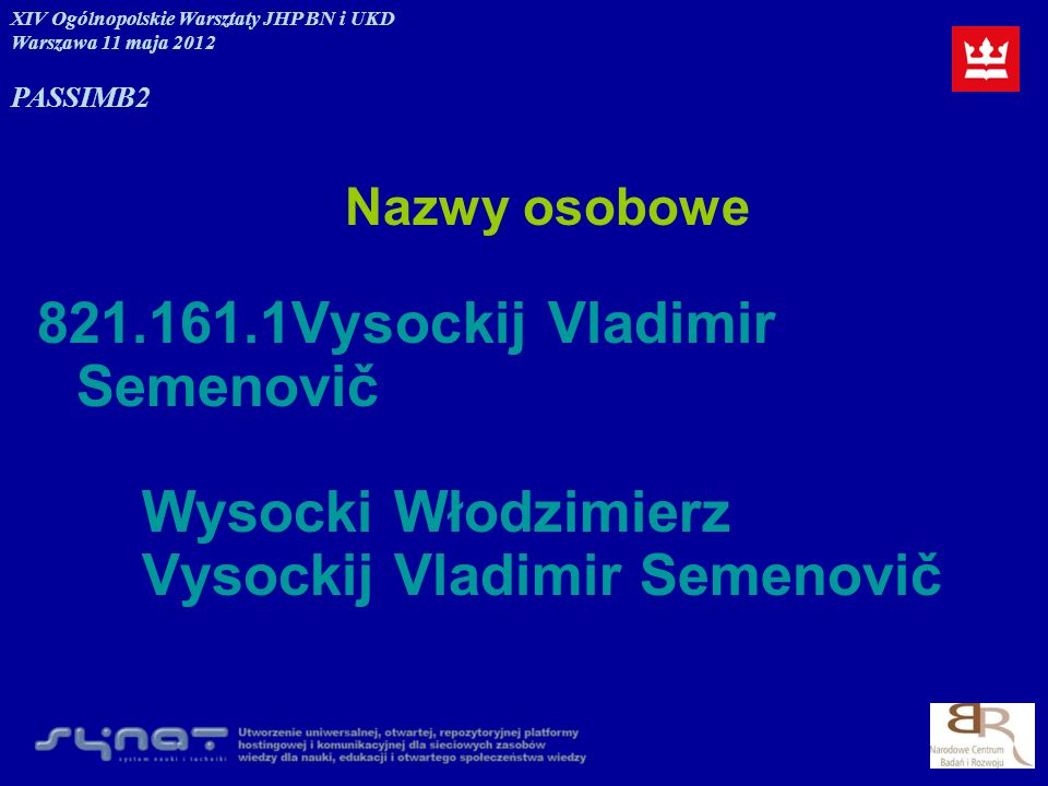 Nazwy osobowe 821.161.1Vysockij Vladimir Semenovič Wysocki Włodzimierz Vysockij Vladimir Semenovič XIV Ogólnopolskie Warsztaty JHP BN i UKD Warszawa 1