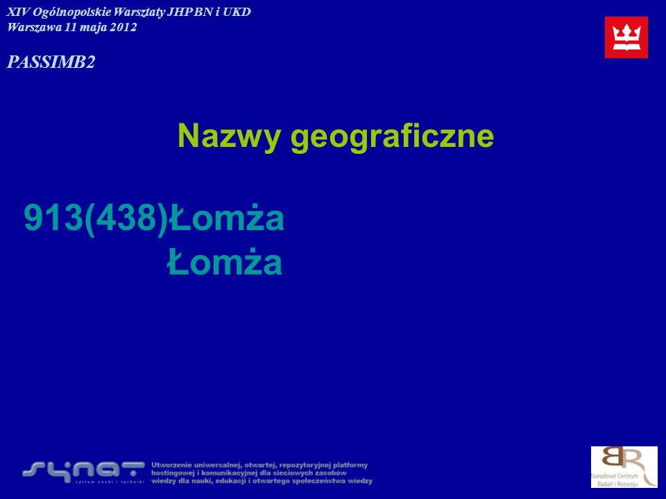 Nazwy geograficzne 913(438)Łomża Łomża XIV Ogólnopolskie Warsztaty JHP BN i UKD Warszawa 11 maja 2012 PASSIMB2