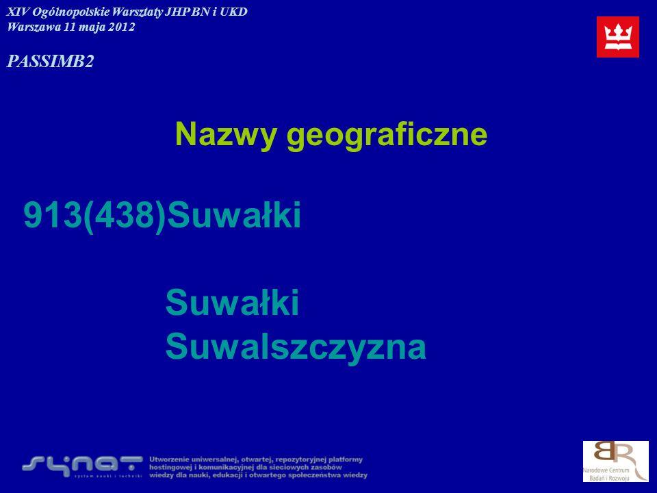Nazwy geograficzne 913(438)Suwałki Suwałki Suwalszczyzna XIV Ogólnopolskie Warsztaty JHP BN i UKD Warszawa 11 maja 2012 PASSIMB2
