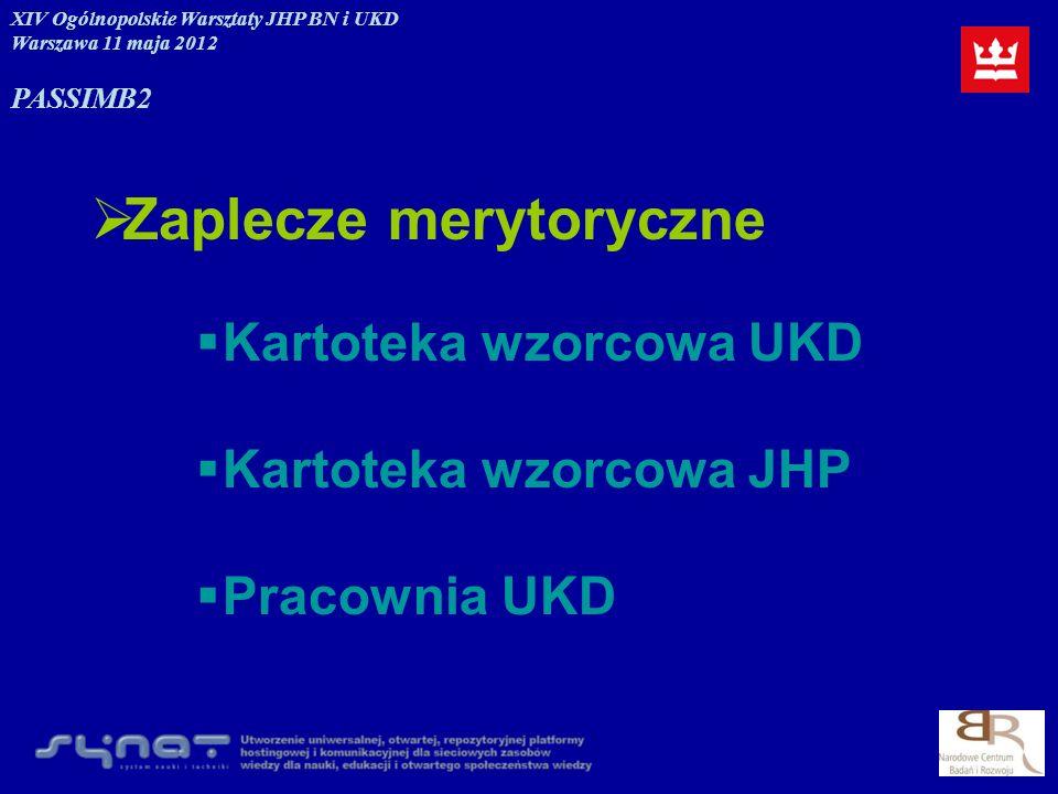 Zaplecze merytoryczne Kartoteka wzorcowa UKD Kartoteka wzorcowa JHP Pracownia UKD XIV Ogólnopolskie Warsztaty JHP BN i UKD Warszawa 11 maja 2012 PASSI