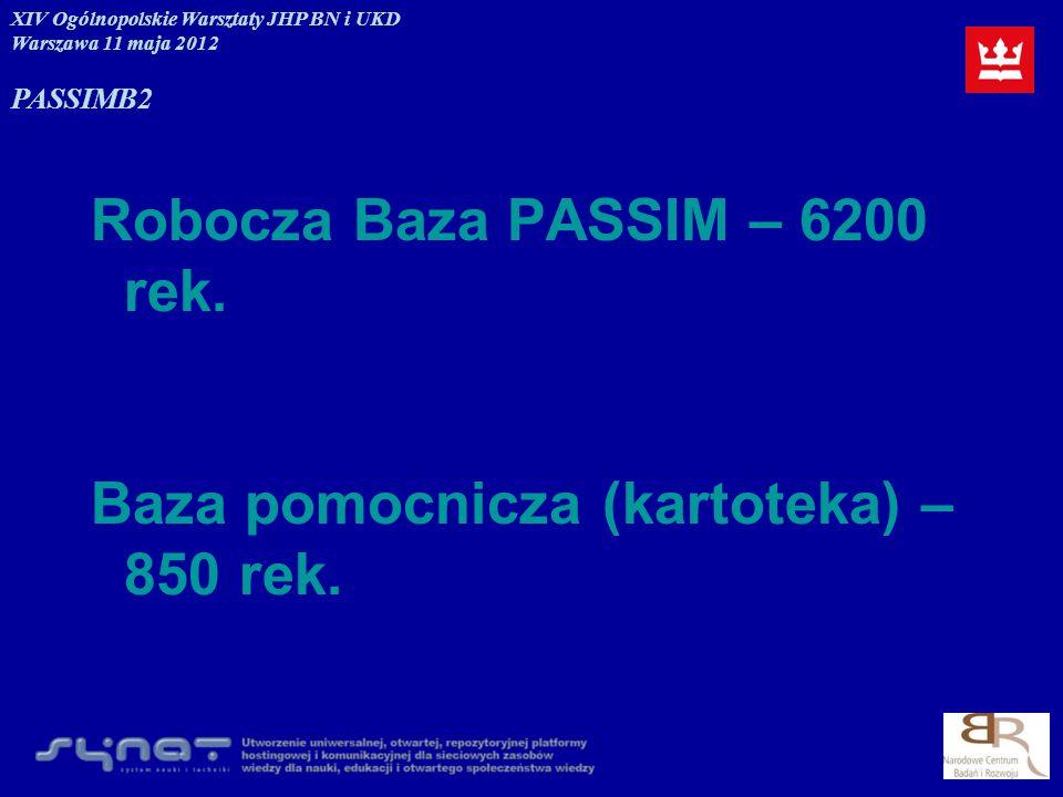 Robocza Baza PASSIM – 6200 rek. Baza pomocnicza (kartoteka) – 850 rek. XIV Ogólnopolskie Warsztaty JHP BN i UKD Warszawa 11 maja 2012 PASSIMB2