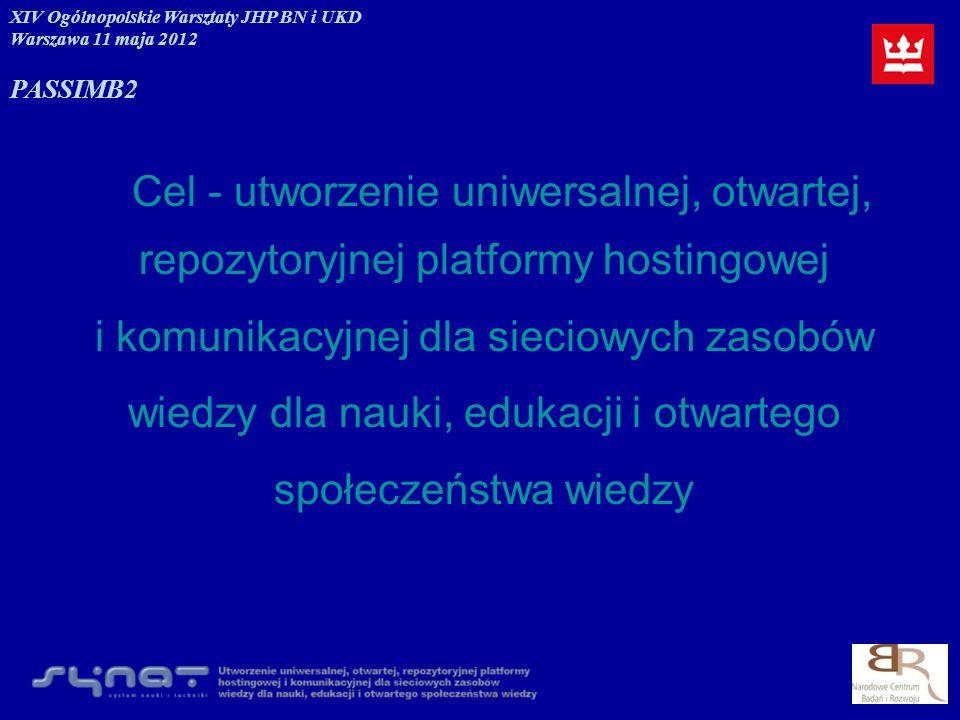 Cel - utworzenie uniwersalnej, otwartej, repozytoryjnej platformy hostingowej i komunikacyjnej dla sieciowych zasobów wiedzy dla nauki, edukacji i otw