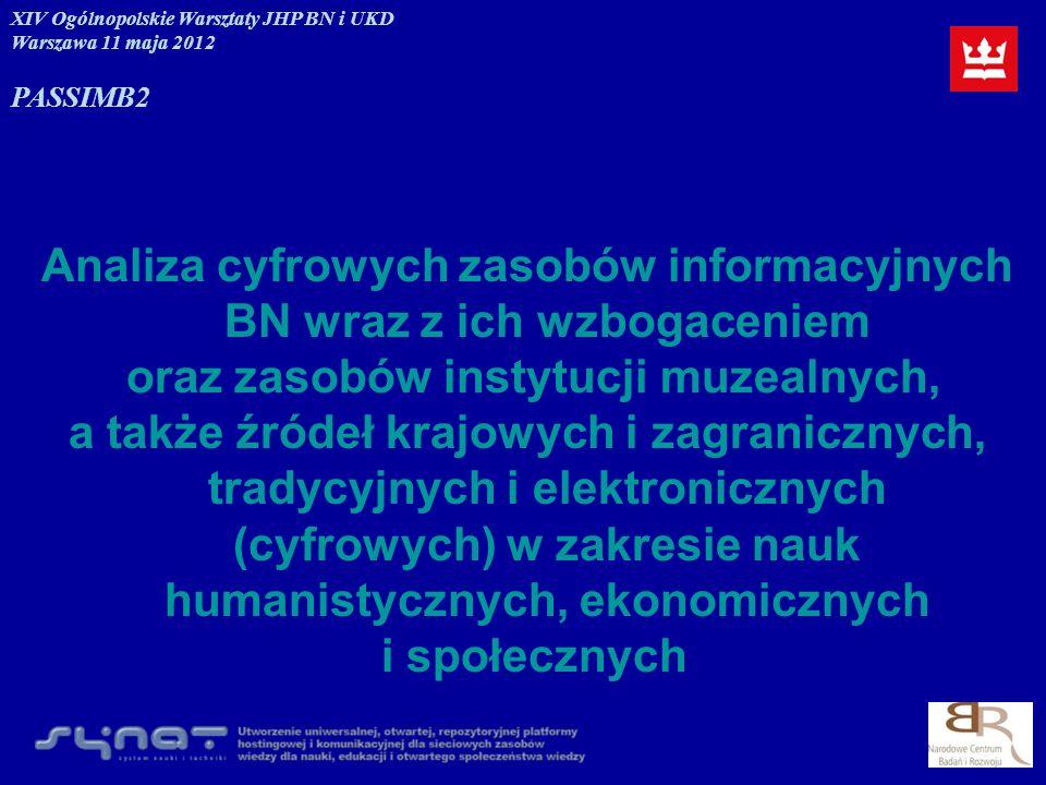 Analiza cyfrowych zasobów informacyjnych BN wraz z ich wzbogaceniem oraz zasobów instytucji muzealnych, a także źródeł krajowych i zagranicznych, trad