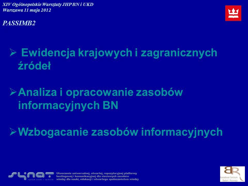 Ewidencja krajowych i zagranicznych źródeł Analiza i opracowanie zasobów informacyjnych BN Wzbogacanie zasobów informacyjnych XIV Ogólnopolskie Warszt