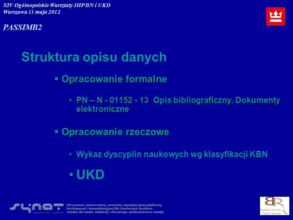 Nazwy instytucji 001.32Polska Akademia Nauk Polska Akademia Nauk PAN XIV Ogólnopolskie Warsztaty JHP BN i UKD Warszawa 11 maja 2012 PASSIMB2
