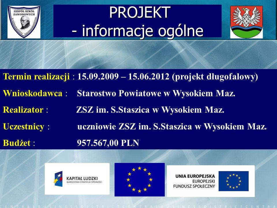 PROJEKT - informacje ogólne PROJEKT - informacje ogólne Termin realizacji : 15.09.2009 – 15.06.2012 (projekt długofalowy) Wnioskodawca : Starostwo Powiatowe w Wysokiem Maz.
