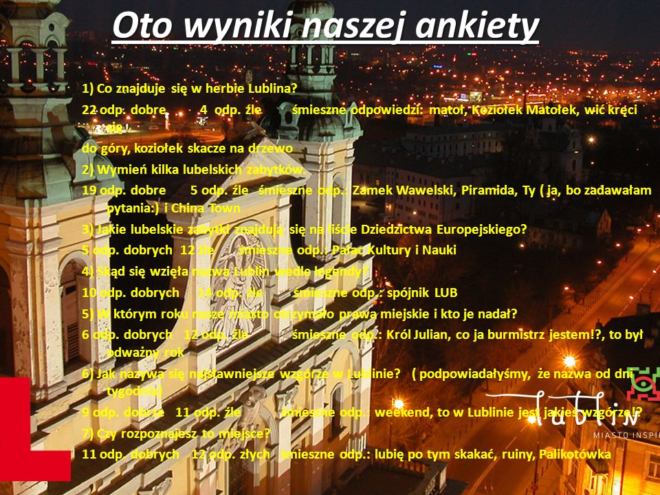 Oto wyniki drugiej ankiety 1.Co znajduję się w herbie Lublina.