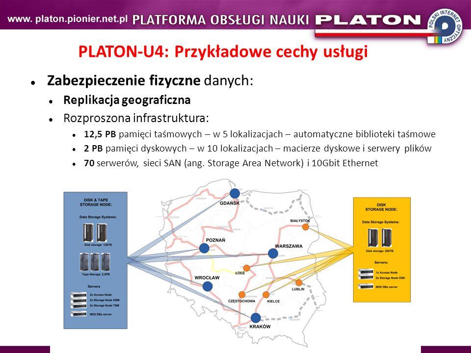 PLATON-U4: Przykładowe cechy usługi Zabezpieczenie fizyczne danych: Replikacja geograficzna Rozproszona infrastruktura: 12,5 PB pamięci taśmowych – w