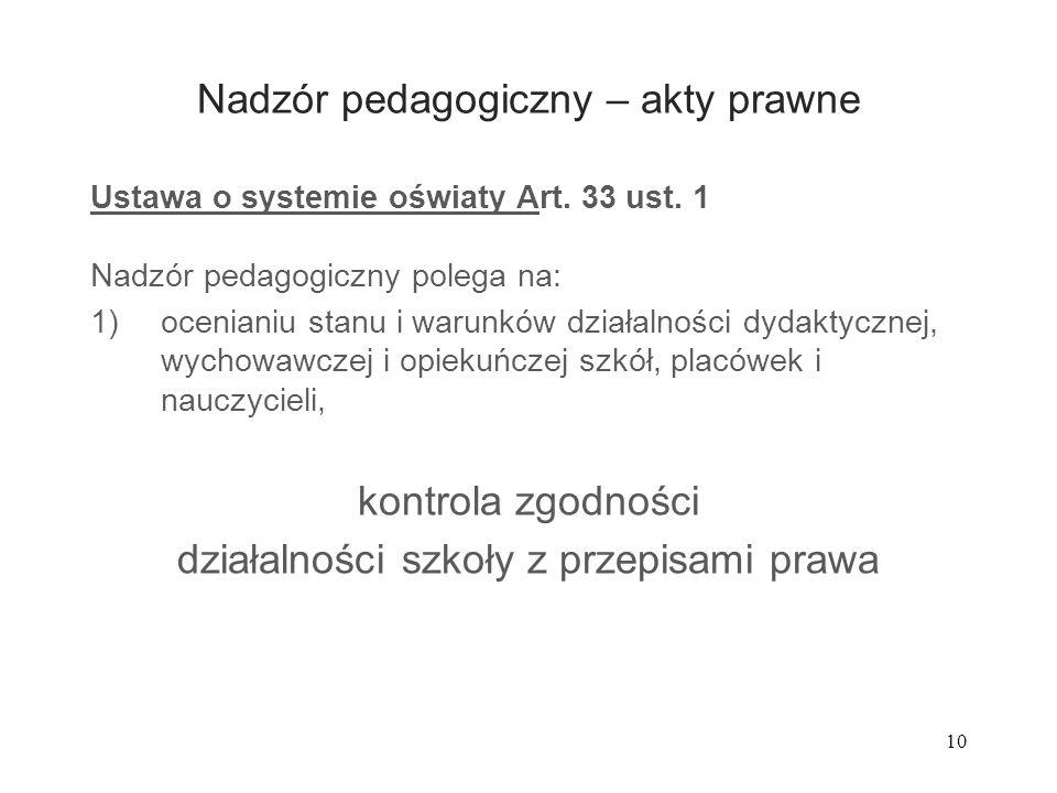 10 Nadzór pedagogiczny – akty prawne Ustawa o systemie oświaty Art. 33 ust. 1 Nadzór pedagogiczny polega na: 1)ocenianiu stanu i warunków działalności