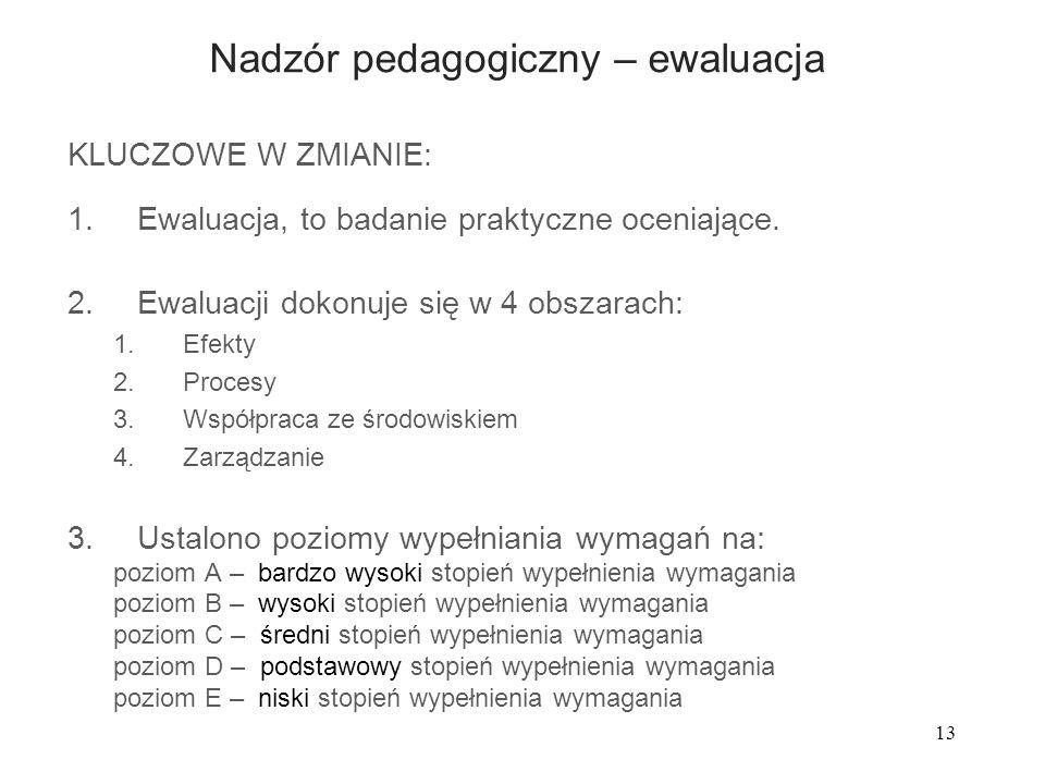 13 Nadzór pedagogiczny – ewaluacja KLUCZOWE W ZMIANIE: 1.Ewaluacja, to badanie praktyczne oceniające. 2.Ewaluacji dokonuje się w 4 obszarach: 1.Efekty