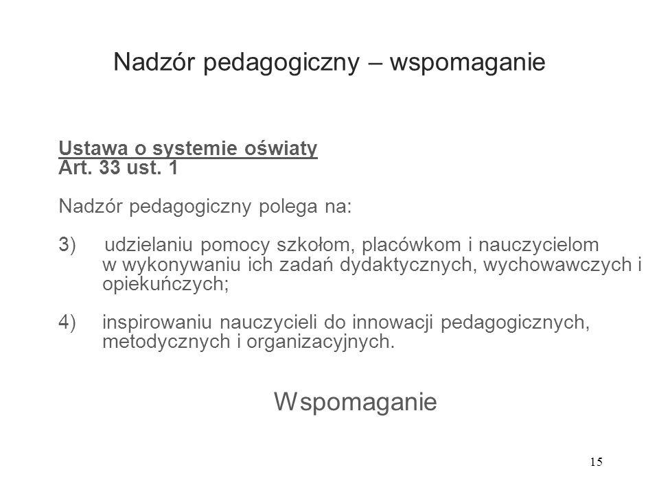 15 Nadzór pedagogiczny – wspomaganie Ustawa o systemie oświaty Art. 33 ust. 1 Nadzór pedagogiczny polega na: 3) udzielaniu pomocy szkołom, placówkom i