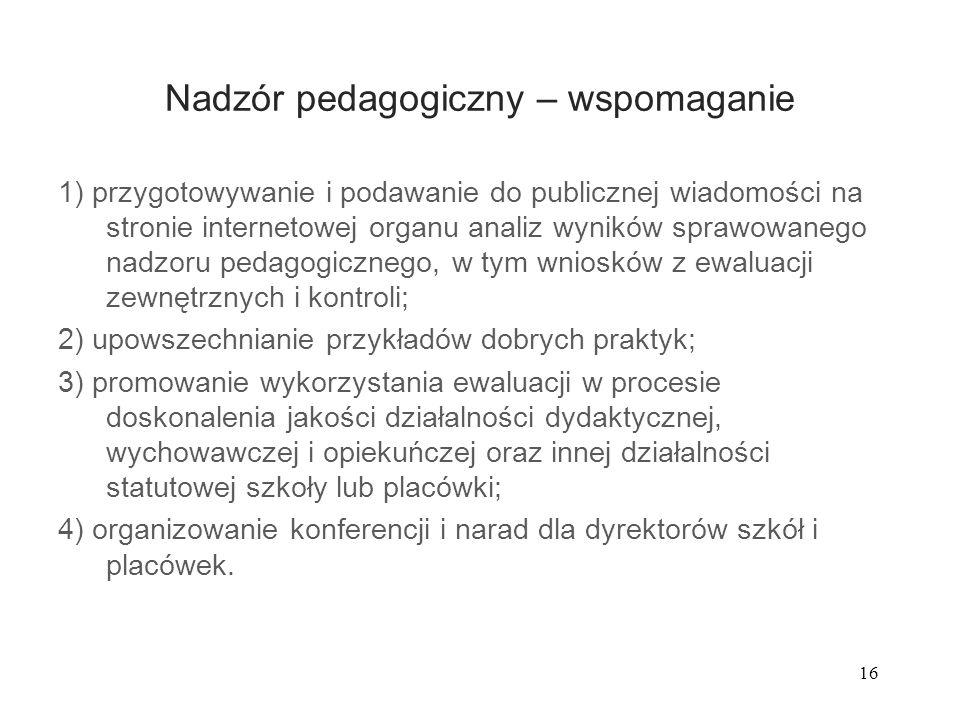 16 Nadzór pedagogiczny – wspomaganie 1) przygotowywanie i podawanie do publicznej wiadomości na stronie internetowej organu analiz wyników sprawowaneg