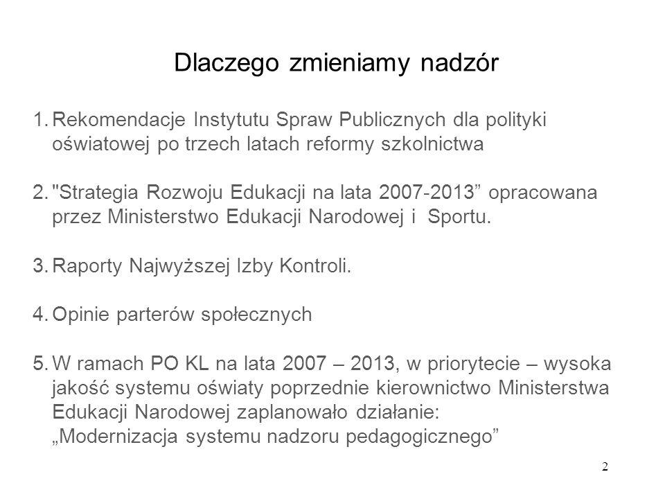 2 Dlaczego zmieniamy nadzór 1.Rekomendacje Instytutu Spraw Publicznych dla polityki oświatowej po trzech latach reformy szkolnictwa 2.
