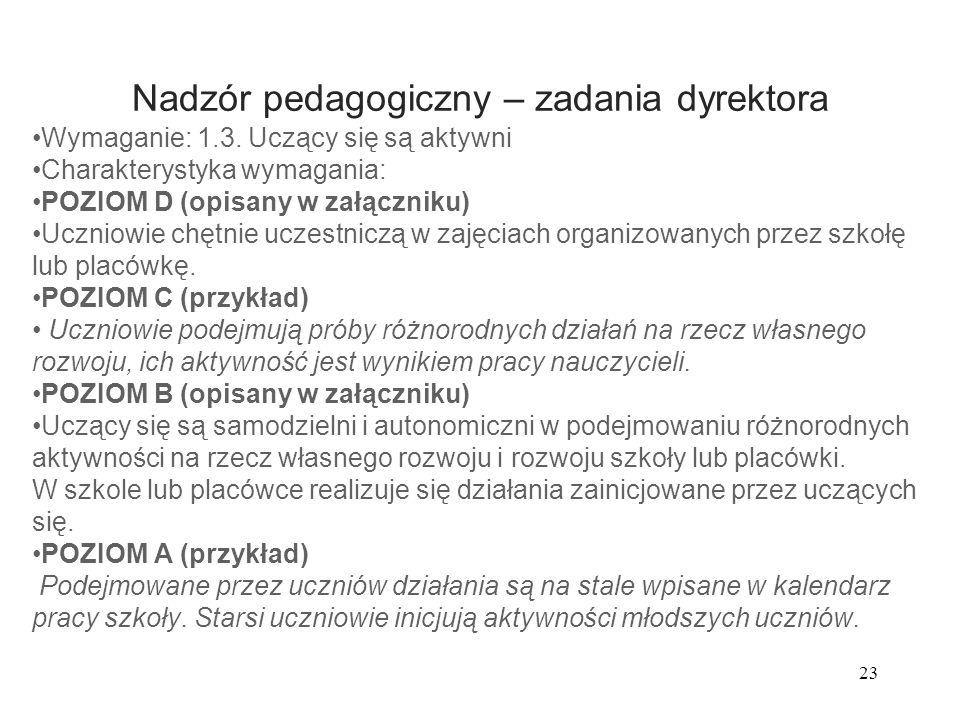 23 Nadzór pedagogiczny – zadania dyrektora Wymaganie: 1.3. Uczący się są aktywni Charakterystyka wymagania: POZIOM D (opisany w załączniku) Uczniowie