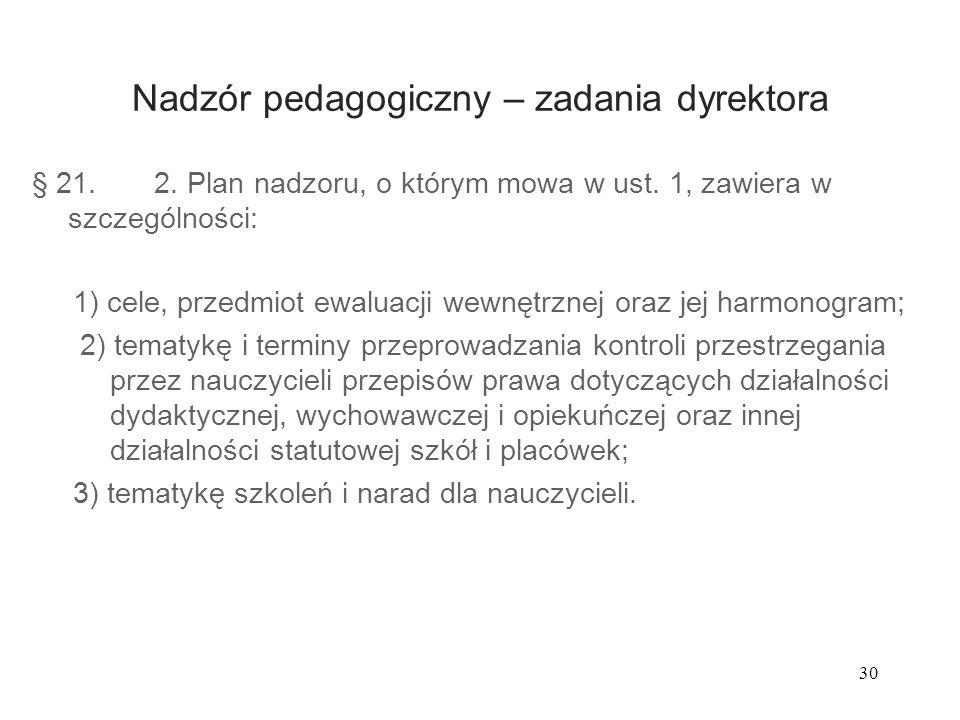 30 Nadzór pedagogiczny – zadania dyrektora § 21. 2. Plan nadzoru, o którym mowa w ust. 1, zawiera w szczególności: 1) cele, przedmiot ewaluacji wewnęt