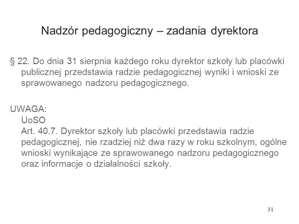 31 Nadzór pedagogiczny – zadania dyrektora § 22. Do dnia 31 sierpnia każdego roku dyrektor szkoły lub placówki publicznej przedstawia radzie pedagogic