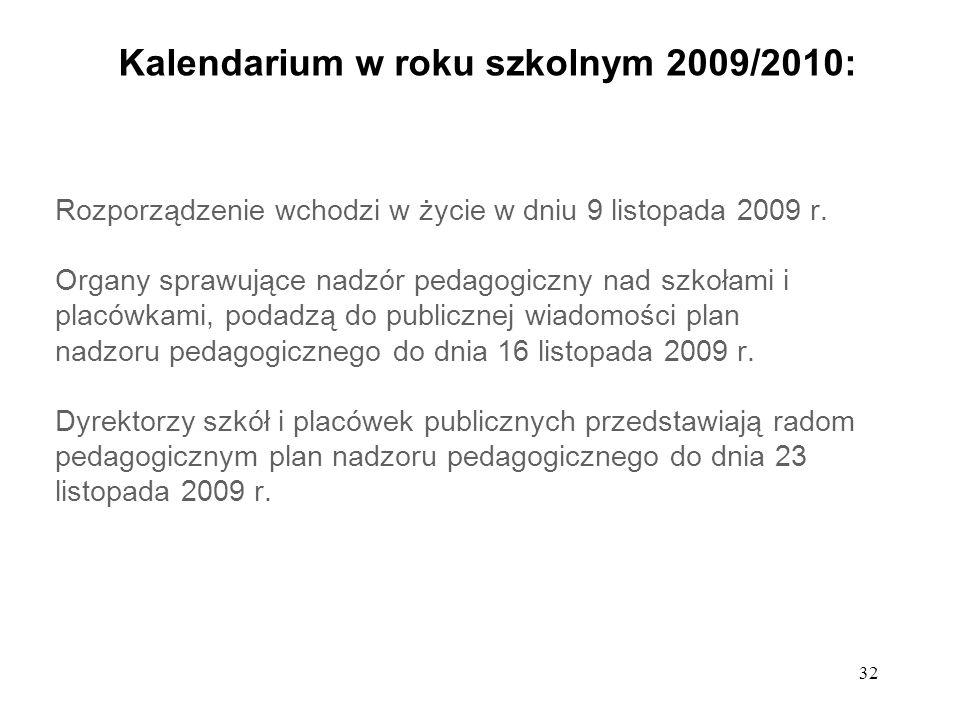 32 Kalendarium w roku szkolnym 2009/2010: Rozporządzenie wchodzi w życie w dniu 9 listopada 2009 r. Organy sprawujące nadzór pedagogiczny nad szkołami
