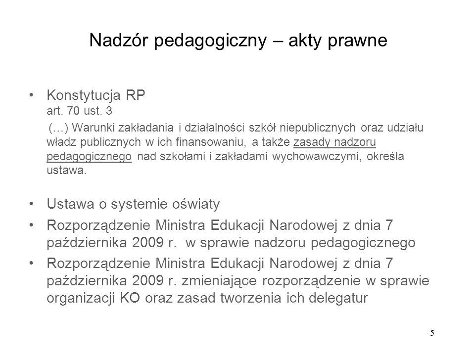 5 Nadzór pedagogiczny – akty prawne Konstytucja RP art. 70 ust. 3 (…) Warunki zakładania i działalności szkół niepublicznych oraz udziału władz public