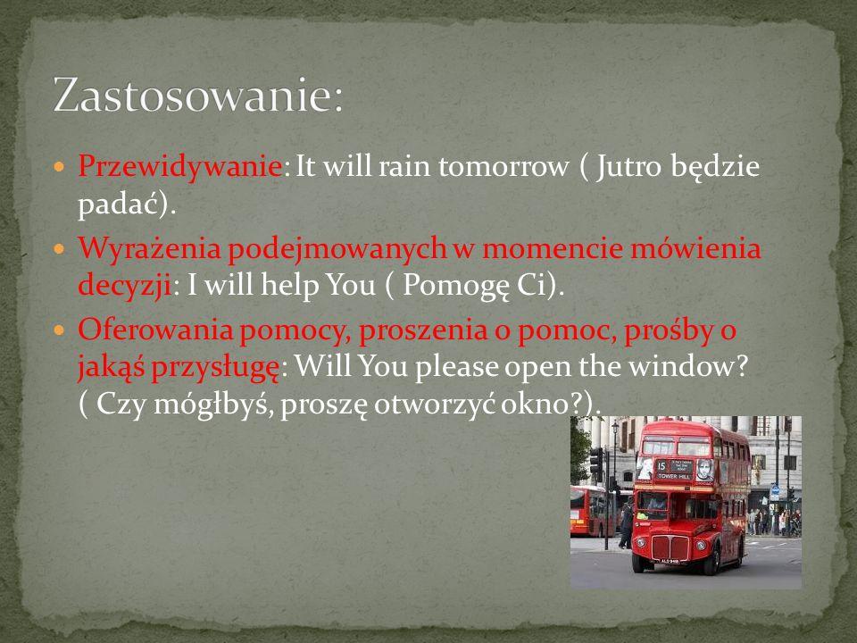 Przewidywanie: It will rain tomorrow ( Jutro będzie padać).