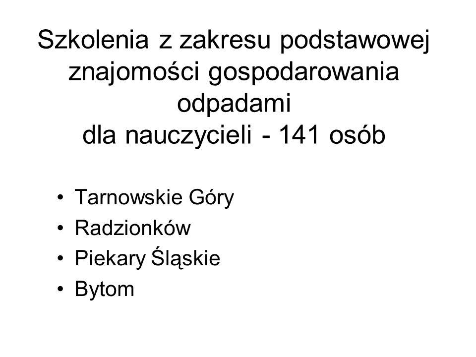 Szkolenia z zakresu podstawowej znajomości gospodarowania odpadami dla nauczycieli - 141 osób Tarnowskie Góry Radzionków Piekary Śląskie Bytom