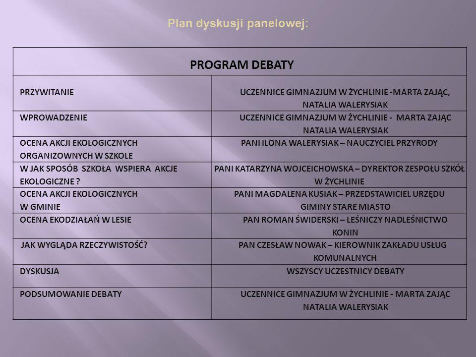 Plan dyskusji panelowej: PROGRAM DEBATY PRZYWITANIE UCZENNICE GIMNAZJUM W ŻYCHLINIE -MARTA ZAJĄC, NATALIA WALERYSIAK WPROWADZENIE UCZENNICE GIMNAZJUM