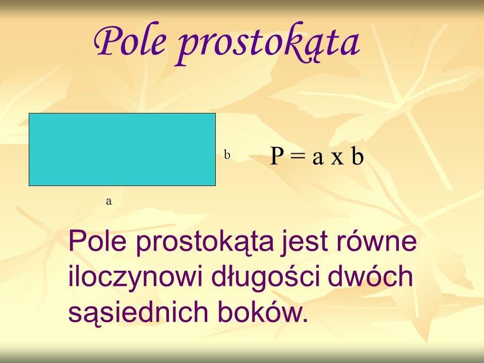 Pole prostokąta a b P = a x b Pole prostokąta jest równe iloczynowi długości dwóch sąsiednich boków.