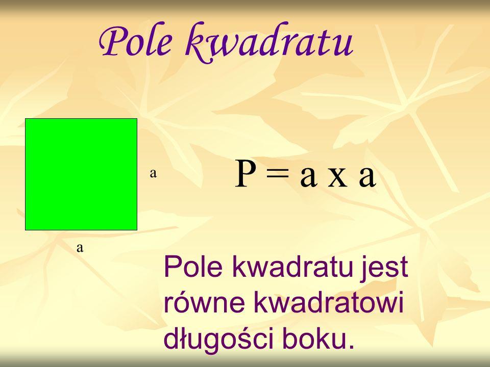 Pole kwadratu z przekątnymi d P = d x d Pole kwadratu jest równe połowie kwadratu długości przekątnej.