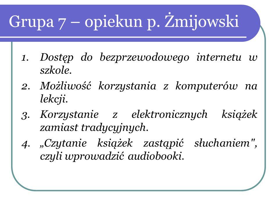 Grupa 7 – opiekun p. Żmijowski 1.Dostęp do bezprzewodowego internetu w szkole. 2.Możliwość korzystania z komputerów na lekcji. 3.Korzystanie z elektro