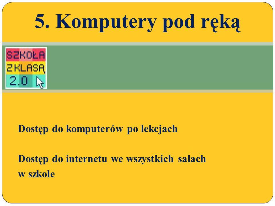 Dostęp do komputerów po lekcjach Dostęp do internetu we wszystkich salach w szkole 5.