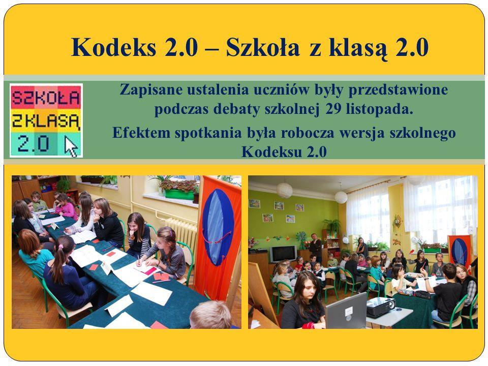 Opisy realizowanych zadań znajdują się na szkolnej stronie internetowej NASZE PROJEKTY/SZKOŁA Z KLASĄ 2.0 Kodeks 2.0 – Szkoła z klasą 2.0
