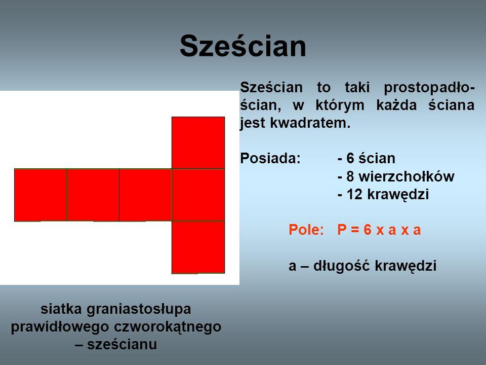Graniastosłup czworokątny Graniastosłup czworokątny to graniastosłup, który w podstawie ma kwadrat.