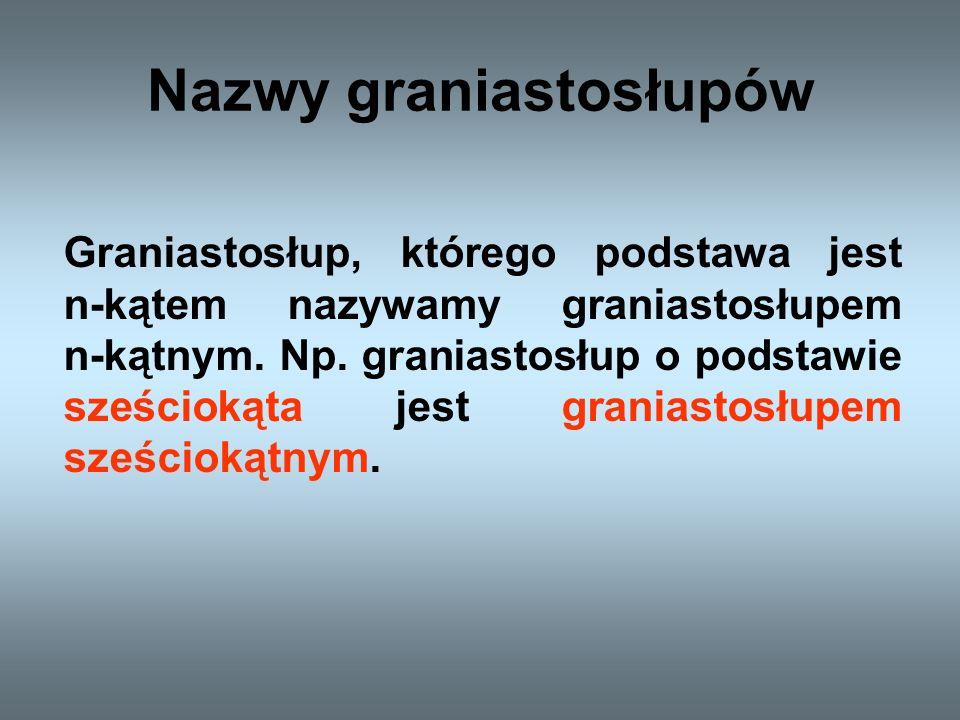 Podział graniastosłupów Graniastosłup przyjmuje swoją nazwę od wielokąta, który jest jego podstawą.