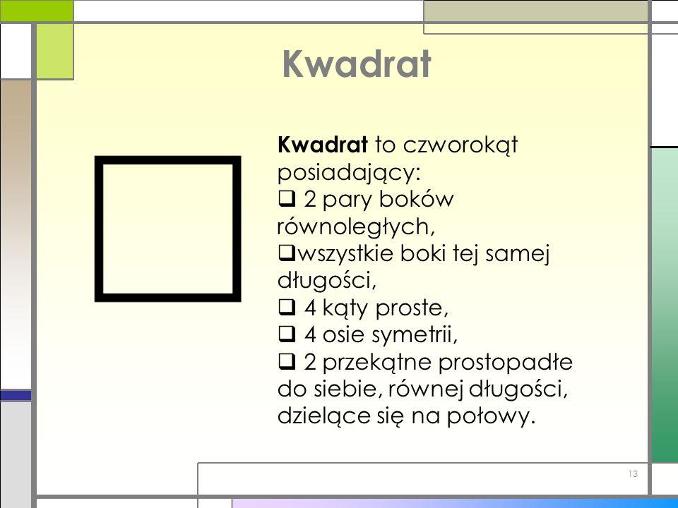 Kwadrat Kwadrat to czworokąt posiadający: 2 pary boków równoległych, wszystkie boki tej samej długości, 4 kąty proste, 4 osie symetrii, 2 przekątne pr