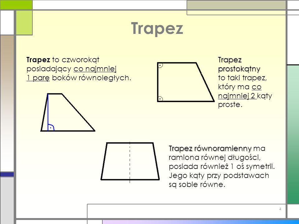 Trapez Trapez to czworokąt posiadający co najmniej 1 parę boków równoległych. Trapez prostokątny to taki trapez, który ma co najmniej 2 kąty proste. T