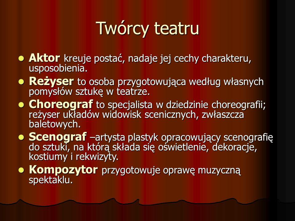 Twórcy teatru Aktor kreuje postać, nadaje jej cechy charakteru, usposobienia. Aktor kreuje postać, nadaje jej cechy charakteru, usposobienia. Reżyser