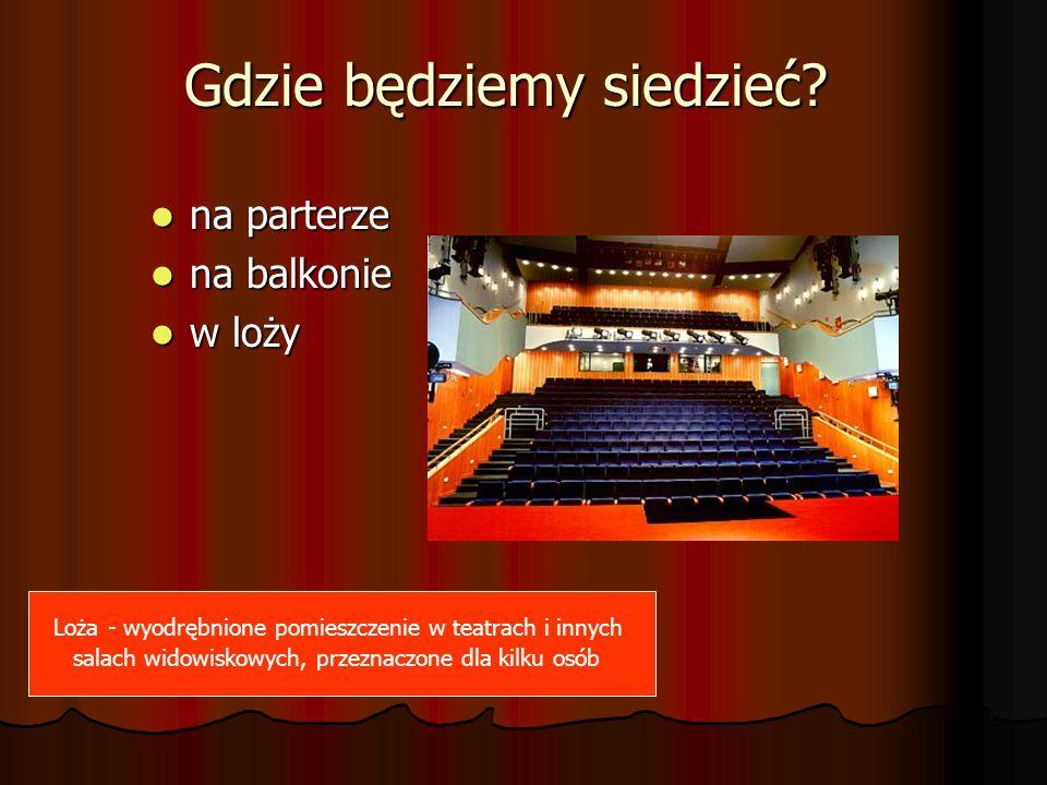 Gdzie będziemy siedzieć? na parterze na parterze na balkonie na balkonie w loży w loży Loża - wyodrębnione pomieszczenie w teatrach i innych salach wi
