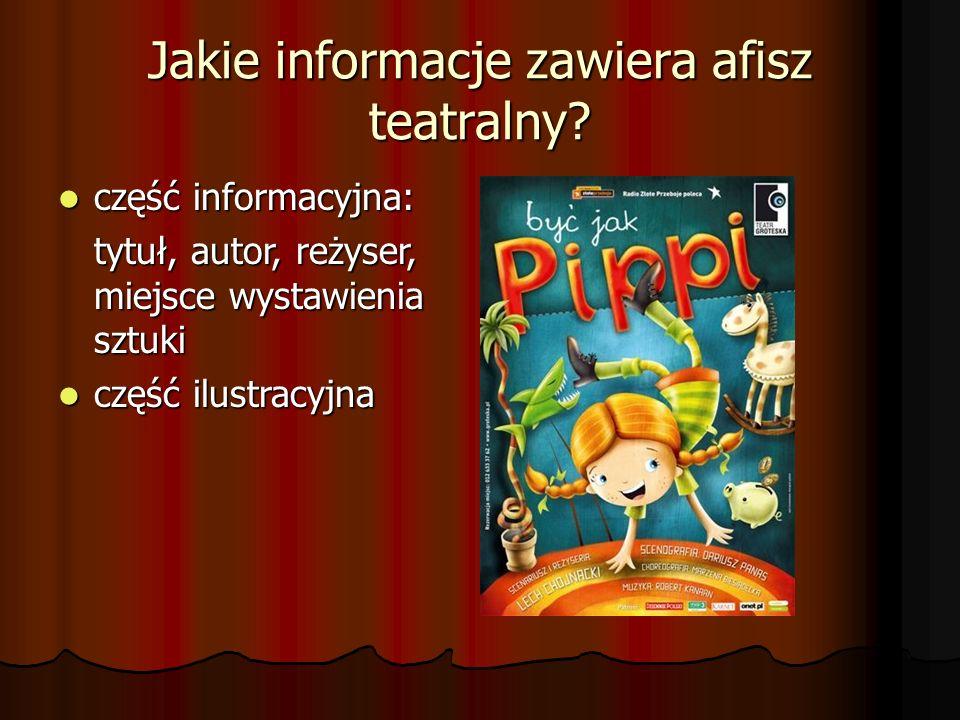 Jakie informacje zawiera afisz teatralny? część informacyjna: część informacyjna: tytuł, autor, reżyser, miejsce wystawienia sztuki część ilustracyjna