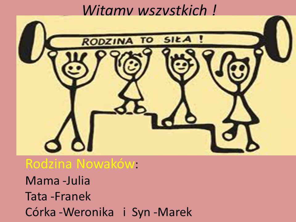 Witamy wszystkich ! Rodzina Nowaków : Mama -Julia Tata -Franek Córka -Weronika i Syn -Marek