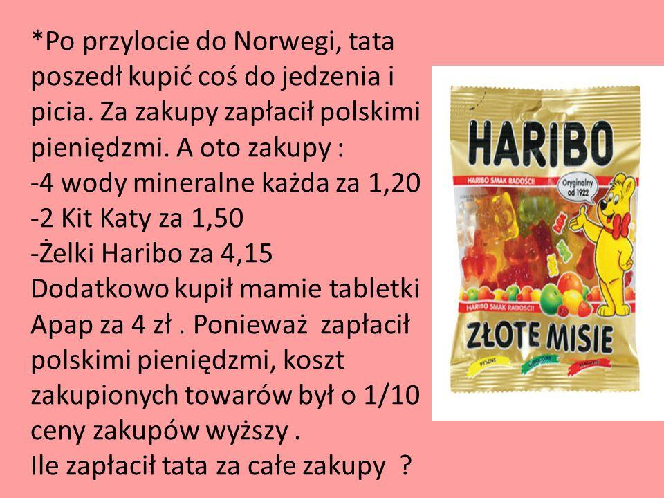 *Po przylocie do Norwegi, tata poszedł kupić coś do jedzenia i picia. Za zakupy zapłacił polskimi pieniędzmi. A oto zakupy : -4 wody mineralne każda z