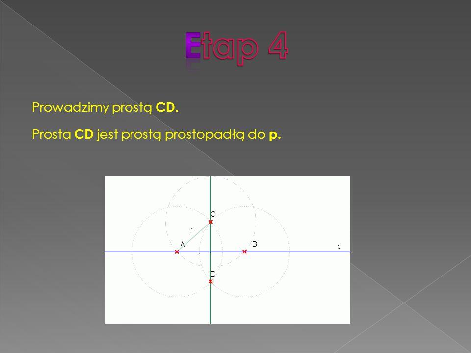 Prowadzimy prostą CD. Prosta CD jest prostą prostopadłą do p.