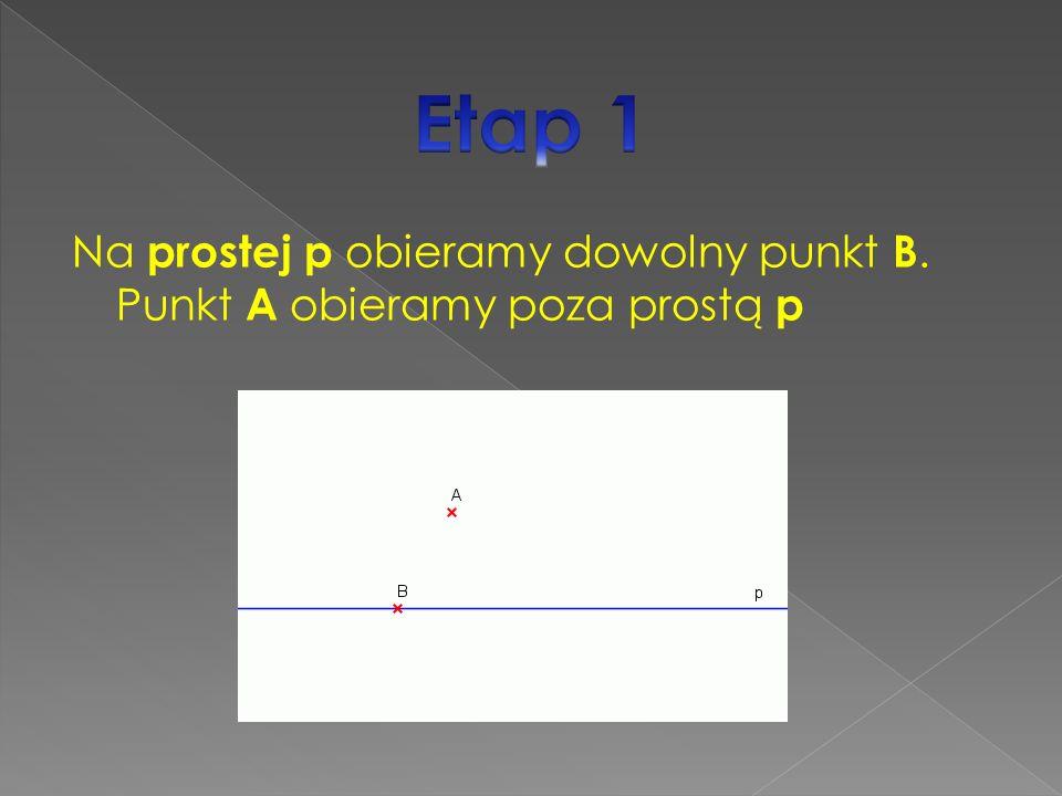 Na prostej p obieramy dowolny punkt B. Punkt A obieramy poza prostą p
