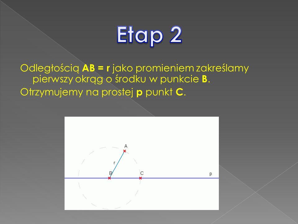 Odległością AB = r jako promieniem zakreślamy pierwszy okrąg o środku w punkcie B. Otrzymujemy na prostej p punkt C.