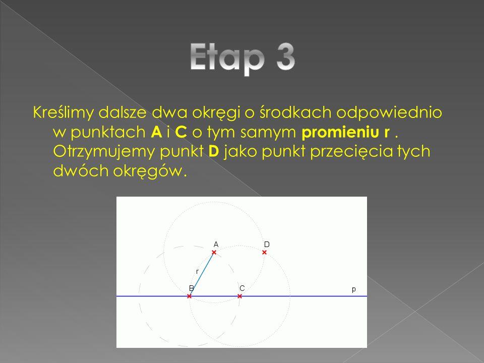 Kreślimy dalsze dwa okręgi o środkach odpowiednio w punktach A i C o tym samym promieniu r. Otrzymujemy punkt D jako punkt przecięcia tych dwóch okręg