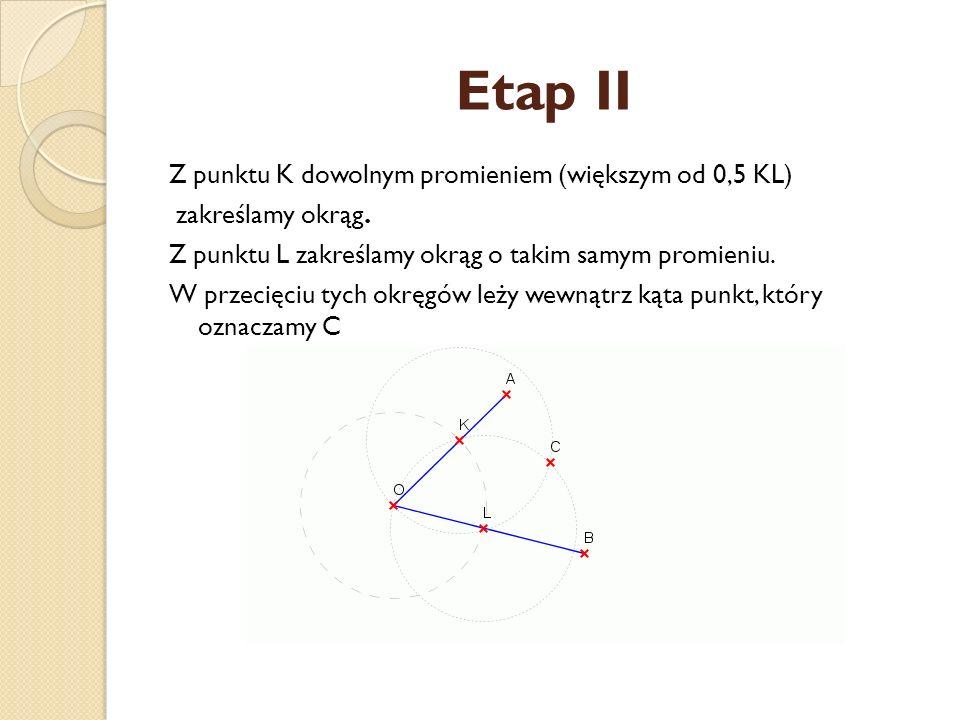 Etap I Z punktu O dowolnym promieniem zakreślamy okrąg. W przecięciu tego okręgu z ramionami kąta AOB otrzymujemy punkty K i L.