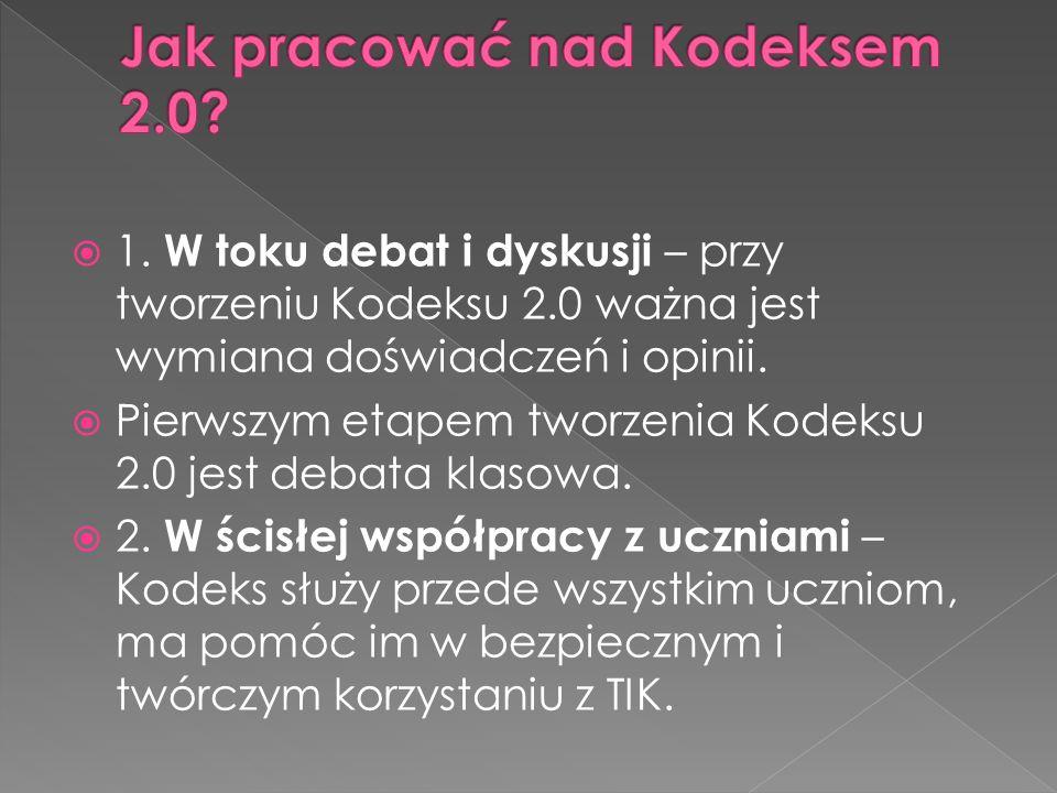 1. W toku debat i dyskusji – przy tworzeniu Kodeksu 2.0 ważna jest wymiana doświadczeń i opinii. Pierwszym etapem tworzenia Kodeksu 2.0 jest debata kl