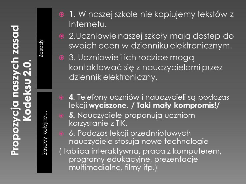 Zasady Zasady kolejne… 1. W naszej szkole nie kopiujemy tekstów z Internetu. 2.Uczniowie naszej szkoły mają dostęp do swoich ocen w dzienniku elektron